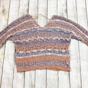 Free People Open Knit Cropped Sweater Top